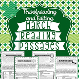 March Reading Passages: Proofreading and Editing with Comprehension Questions