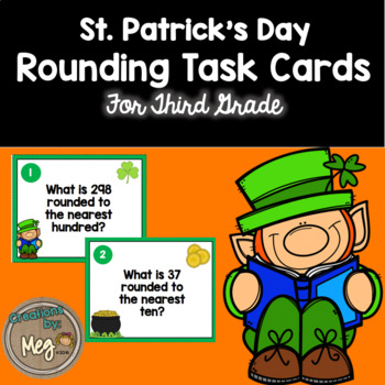 March Rounding Task Cards for Third Grade