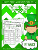 March (Saint Patrick's Day) PRINT and GO Packet [1st Grade]