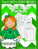 March (Saint Patrick's Day) PRINT and GO Packet [Kindergarten]