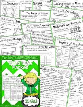 March (Saint Patrick's Day) PRINT and GO Packet [3rd Grade]