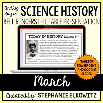 March Science History Bell Ringers (Paperless & Editable)