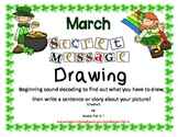 March Secret Message Drawing Beginning Sounds and Sentence