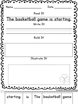 March Sentence Builders {morning work, word work, daily 5, & centers}