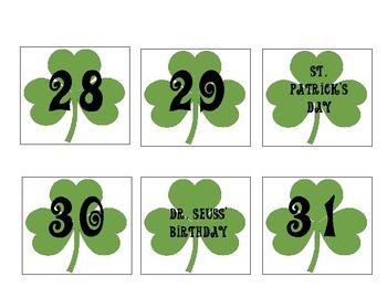 March Shamrock Calendar Set