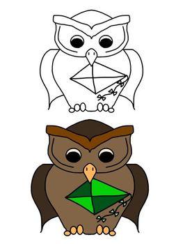 March Shamrocks, Kites, and Owls Clip Art Freebie