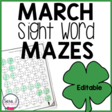 March Shamrock Sight Word Mazes