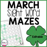 Editable March Shamrock Sight Word Mazes