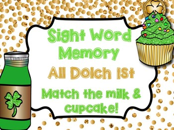 1st Grade Sight Word Memory Game - St. Patrick's Day Center