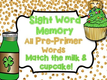 Pre Primer Sight Word Memory Game - March