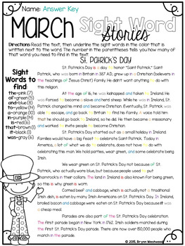 March Sight Word Stories