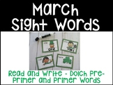March Sight Words Read and Write- Dolch Pre-Primer and Primer