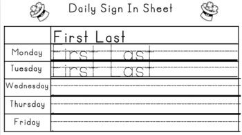 March Sign in Sheets
