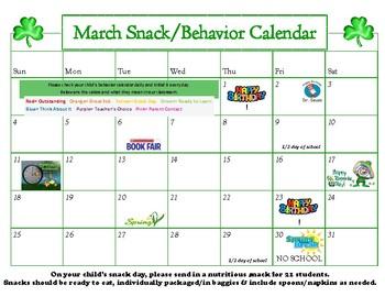 March Snack Calendar-editable
