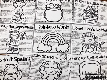 March Spelling Choice Activities