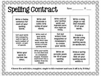 March Spelling Contracts-5 Weeks