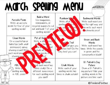March Spelling Menu (spelling homework ideas!)