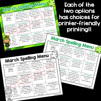 March Spelling Homework Choices