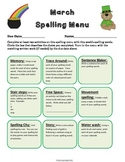 March Spelling Menu - 9 ways for students to learn their s