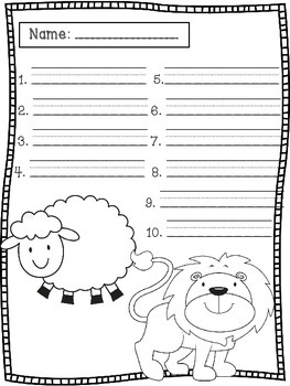 March Spelling Test Templates