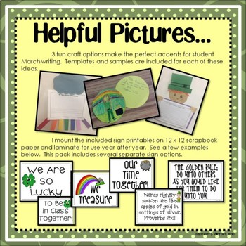 March, Spring, and St. Patrick's Day Bulletin Board and Writing Printables