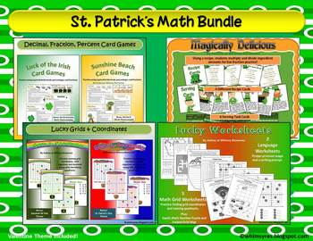 March St. Patrick Centers Math Grid Activities