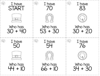 """March St. Patrick's Day 1st Grade """"I Have, Who Has"""" Math Game Bundle"""