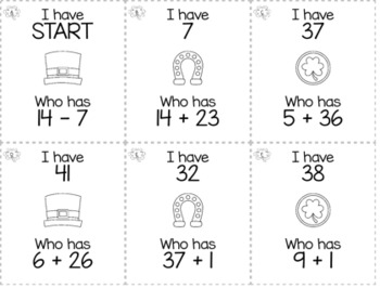 """March & St Patrick's Day 2nd  Grade """"I Have, Who Has"""" Math Game Bundle"""