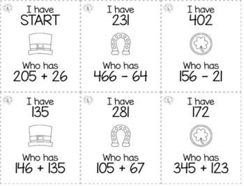 """March & St Patrick's Day 3rd  Grade """"I Have, Who Has"""" Math Game Bundle"""