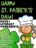 March St. Patrick's Day Preschool Math and Literacy