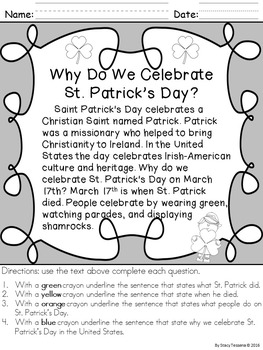 March (St. Patrick's Day) Printables