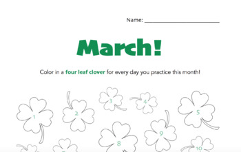 March - Four Leaf Clover Practice Chart!
