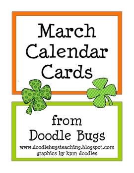 March / St. Patricks Day Calendar Cards