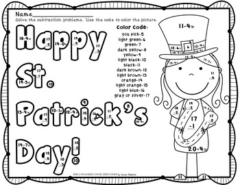 March (St. Patrick's Day) Color By Code Subtraction Facts Color by Number