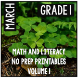 March St. Patrick's Day First Grade Math and Literacy NO PREP Common Core
