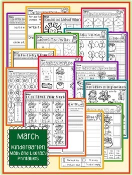 March St. Patrick's Day Kindergarten Math and Literacy NO PREP Common Core