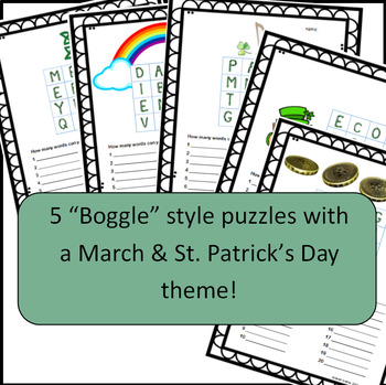 March & St. Patrick's Day Puzzles!  5 Word Puzzles in grids (Boggle type game)