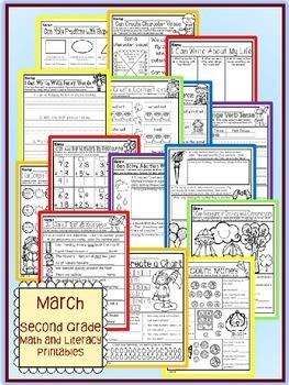 March St. Patrick's Day Second Grade Math and Literacy NO PREP Common Core