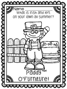 "March St. Patrick's Day Spring ""Just For Fun"" Coloring Joke Book Printables"