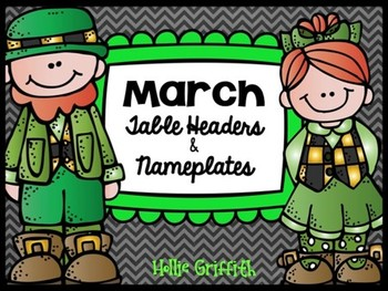 March & St. Patrick's Day Table Headers and Desk Name Plat