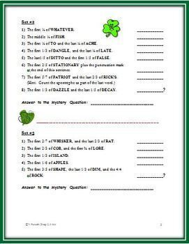 March (St. Patrick's Day) Word Puzzles: Identifying Fractional Parts
