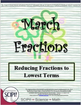 March (St. Patrick's Day) Word Puzzles: Reducing & Identifying Fractional Parts