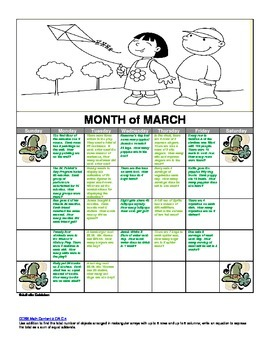 March Story Problem Calendar (Equal Groups)