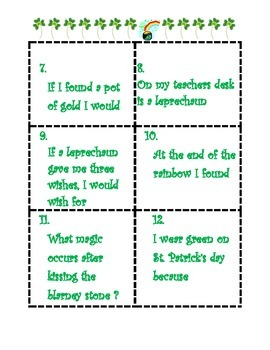 Story starters and sentence stems for St. Patrick's Day