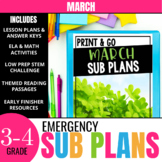March Emergency Sub Plans for 3rd & 4th Grade: Activities & Ready-to-go Lessons