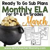 March Sub Plans ELA for 5th, 6th Grades. St. Patrick's Day No Prep