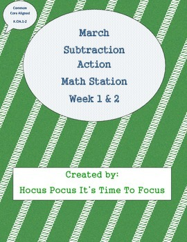 Subtraction Action Math Station Week 1-2-3-4 CC Aligned K.OA.1-2