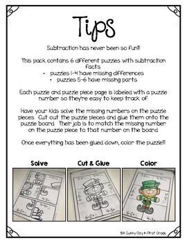 March Subtraction Puzzles