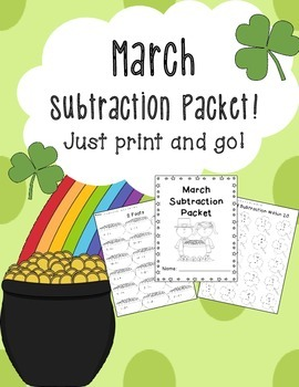 March Subtraction Worksheet Packet-Just Print and Go!