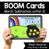 March Subtraction within 10 Boom Cards™ for Kindergarten